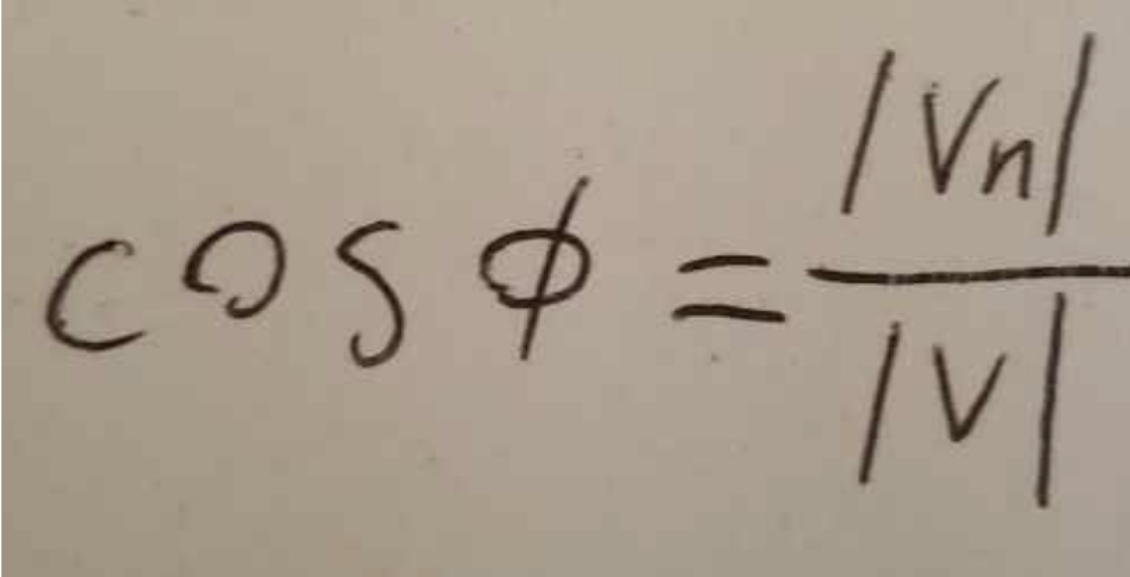 Another handwritten equation captured via mobile camera from a notebook