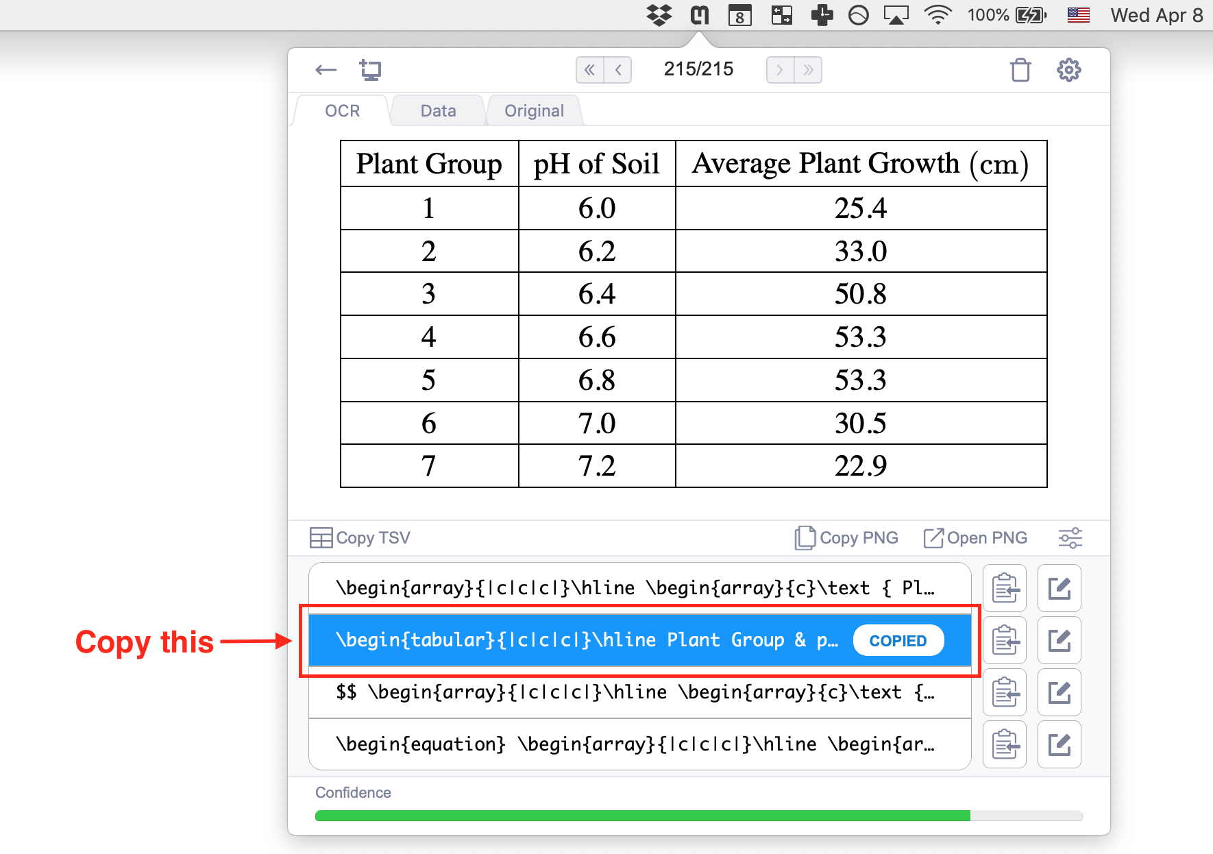 Copy the tabular format to use in Overleaf