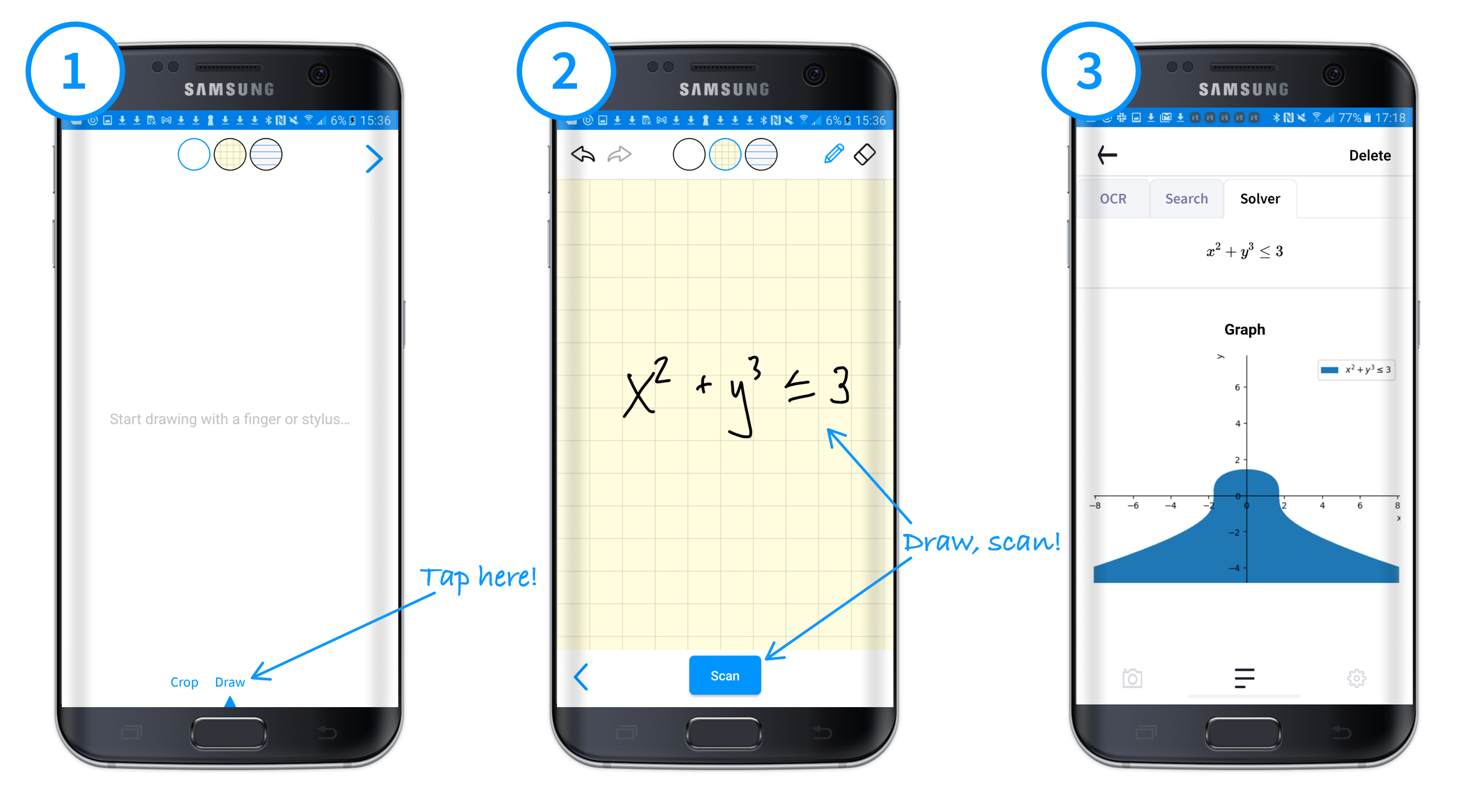 Steps for drawing a Snip of an equation on Android